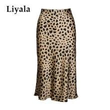Cintura alta leopardo midi saia feminina escondida elasticized cintura de seda cetim saias deslizamento estilo animal impressão saia feminina
