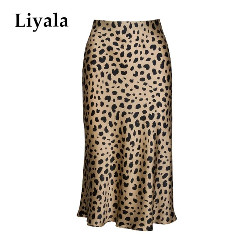 High Waist Leopard Midi Skirt Female Hidden Elasticized Waistband Silk Satin Skirts Slip Style Animal Print Skirt Women