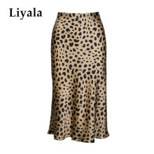 High Waist Leopard Midi Skirt Female Hidden Elasticized Waistband Silk Satin Skirts Slip Style Animal Print Skirt Women недорого