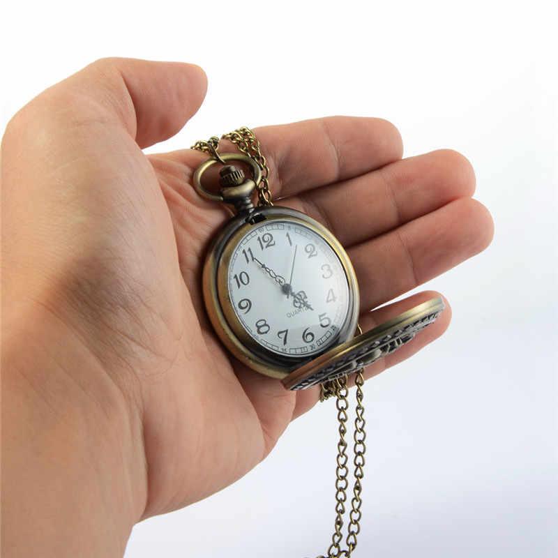 チャーミング彫列車スチームパンク懐中時計開閉中空クォーツ時計古典的な男性の女性のネックレスペンダントチェーンギフト