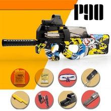 Pistola de balas de agua eléctrica P90 para niños, Rifle de francotirador, Graffiti CS, juegos de Paintball, ráfagas, pistola para exteriores, regalo de Navidad