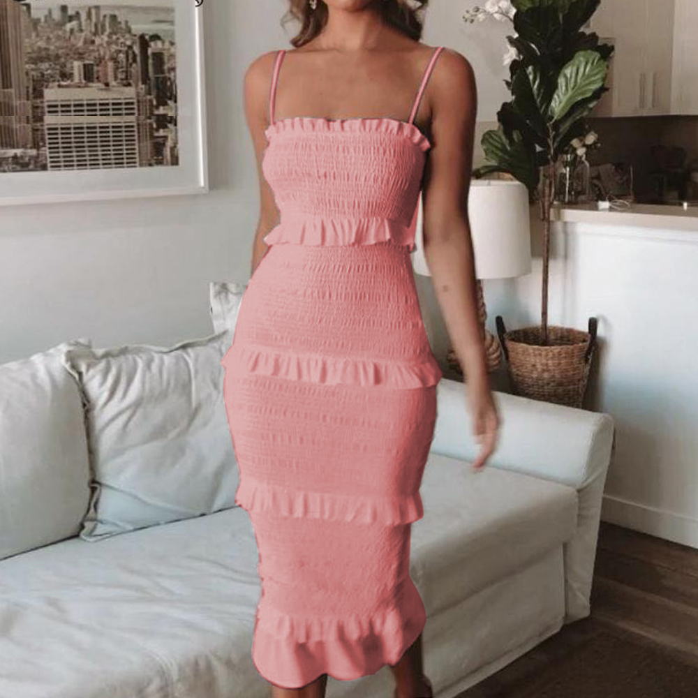CYSINCOS 2020 Fashion Bodycon Slim Long Dress Women Spaghetti Strap Twist Summer Dress Party Female Ruffles Dresses Vestidos