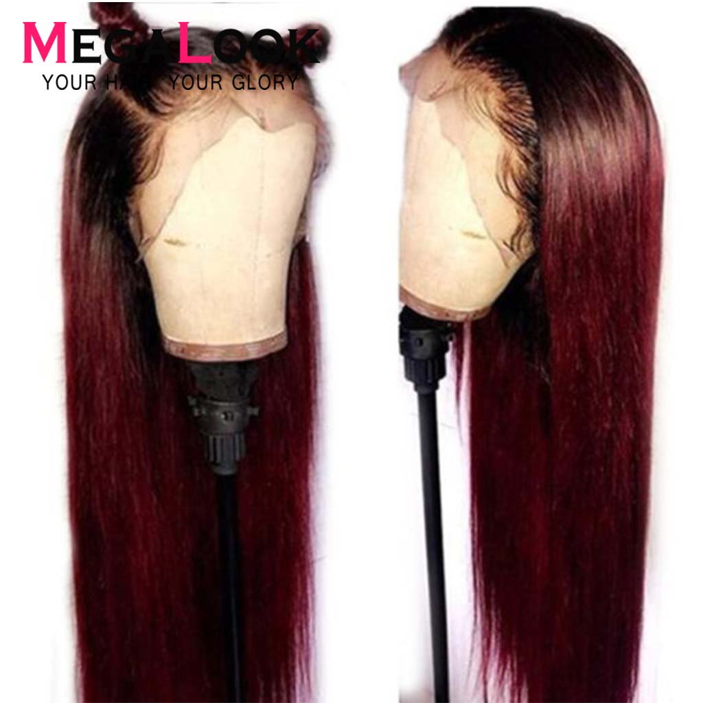 Megalook 1B/99j Lace Front Human Hair Wigs Ombre Lace Front Wig Colored Human Hair Wigs Straight Remy Lace Frontal Wig 13X4