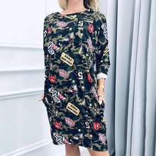 M-2XL Plus Size Women Camouflage Dress Spring Autumn Slim Casual Military O-Neck Letter Print Splice D30