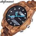 Shifenmei Relogio Цифровые мужские часы 2019 Роскошные брендовые деревянные часы мужские спортивные военные часы erkek kol saati