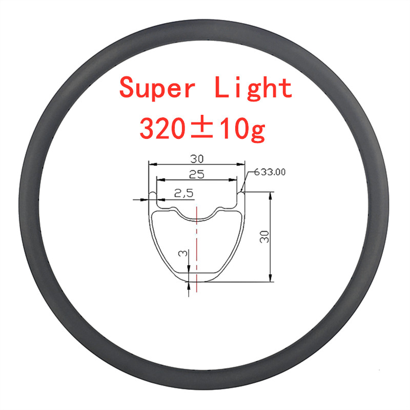 CYCST 29er 30mm x 30mm MTB XC tubeless Super Light 320g hookless carbon <font><b>rim</b></font> 29inch cross country mountain bike wheel <font><b>24H</b></font> 28H 32H image