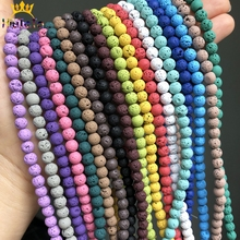 Multicolor Volcanic Rock Lava Stone Beads Natural Rubber Round Loose Beads For DIY Jewelry Making Bracelets 15'' 4 6 8 10mm
