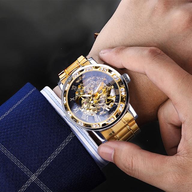Winner Golden Watches Classic Rhinestone Clock Roman Analog Male Skeleton Clocks Mechanical Stainless Steel Band Luminous Watch 5