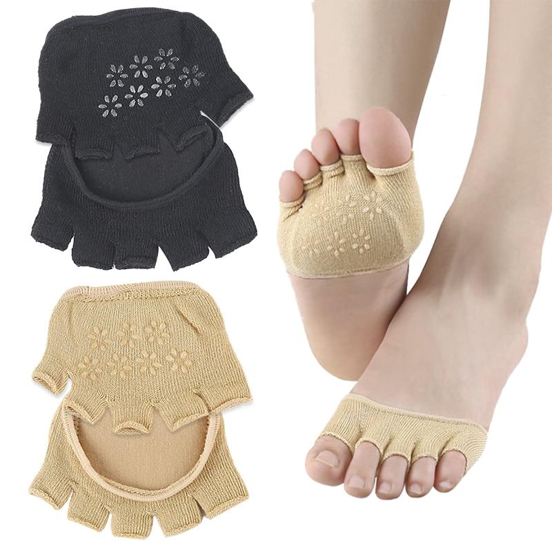 Invisible Non Slip Toe Socks Half Grip Heel Five Finger Socks Invisible Female Summer Cotton High-heeled Short Half Palm Socks