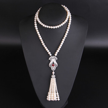 Freshwater Pearl Zircon Pendant Sweater Chain Long Necklace