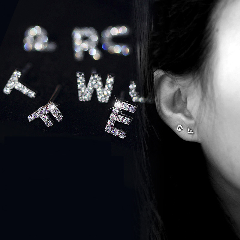 Trendy Zircon Alphabet Letter Stud earrings Initial name A-Z Small Stud Earrings For Women korean small jewellery 2020