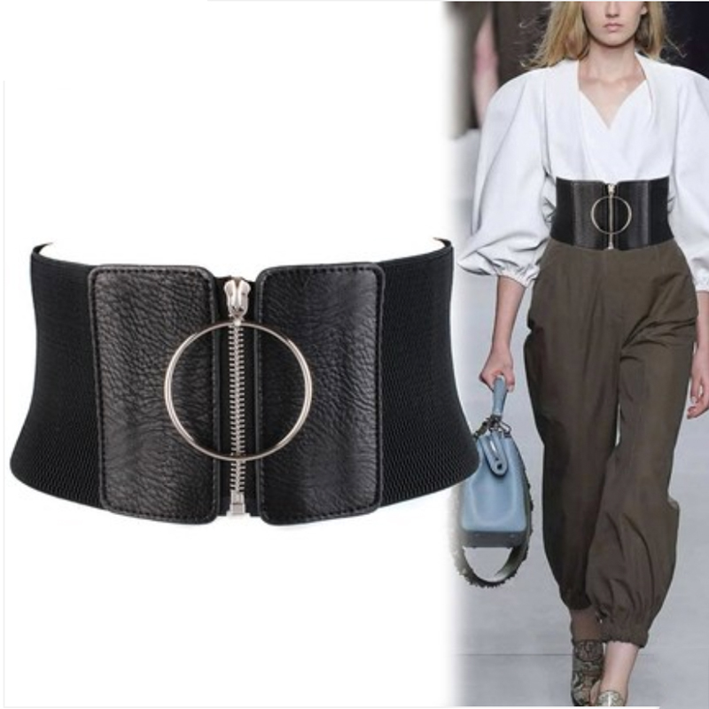 Corset Belt Plus Size Ceinture Femme Elastic Belts For Women Wide Cummerbunds Black Pu Leather Stretch Waist Shaper 2020 Cintos