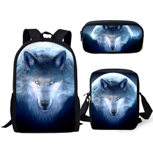 HaoYun Fashion Kids Backpack 3PC Set Fantasy Moon Wolf School Book Bag Kawaii Animal Students Backpack/Flaps Bags/Pen Bas