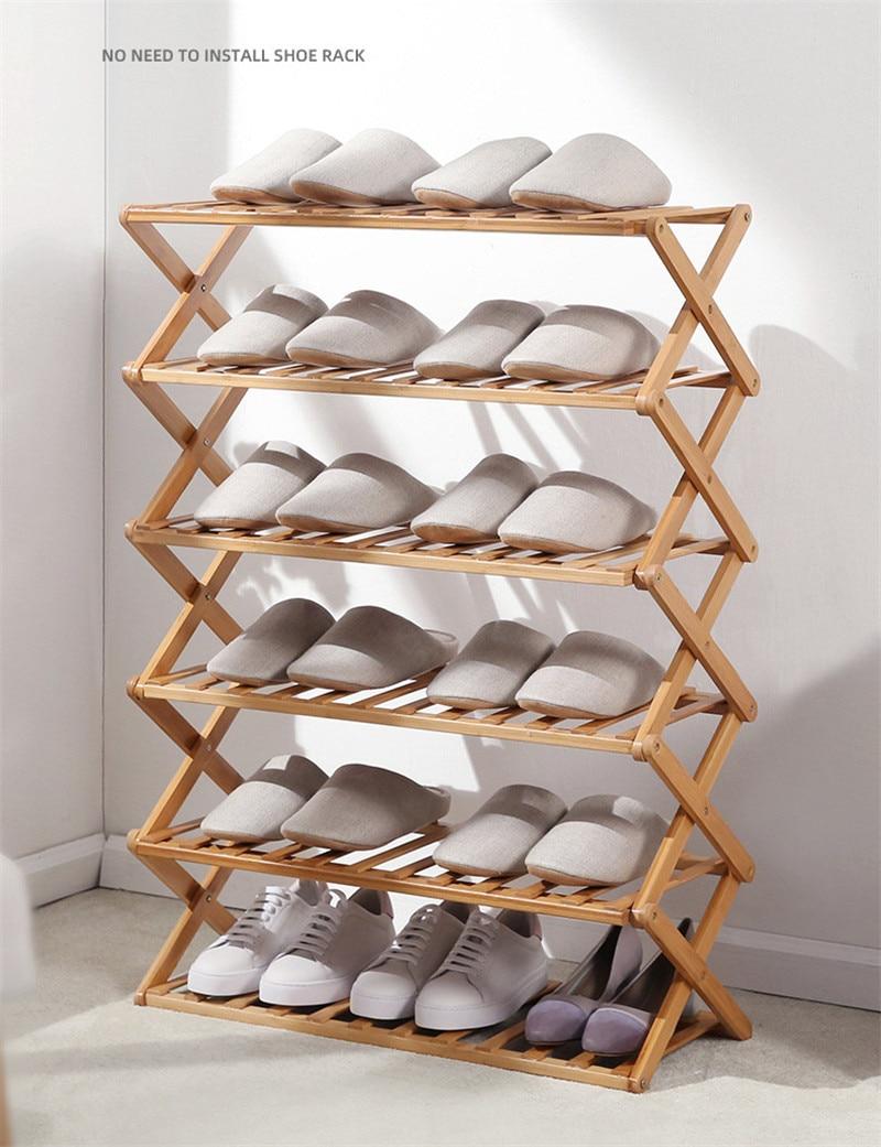 Foldable Wood Shoes Rack