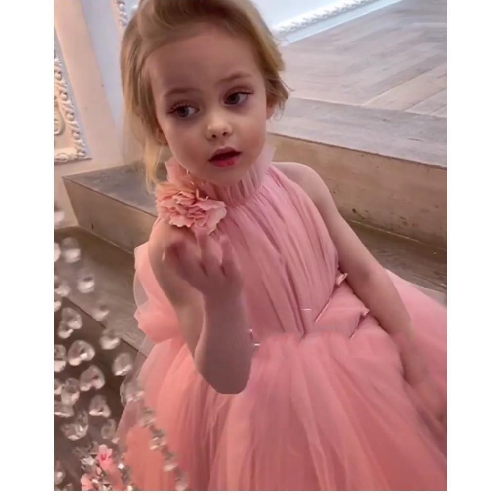 Pretty 3D   Flower   Tutu High Low   Girls   Pageant   Dresses   High Collar Puffy Tulle   Flower     Girl     Dresses   2020 Communion   Dresses   Pretty