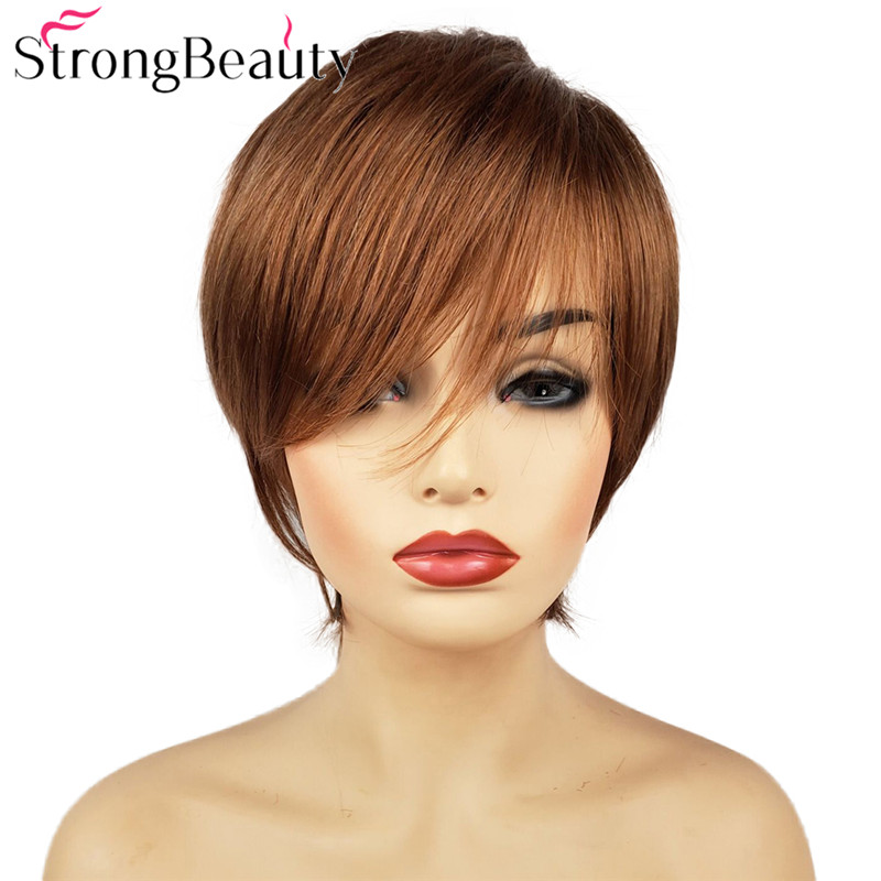 StrongBeauty Short Straight Wigs Natural Hair Women's Synthetic Wig Layered Cut Hair Wigs