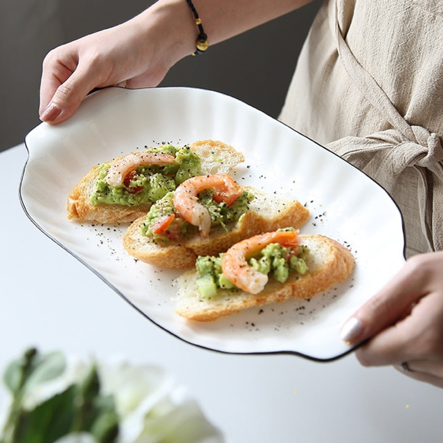Ceramic Irregular Oval Cute Letter Good Morning Dinner Pan Plate Fish Sea Tray Dessert Dinner Plate Tableware Kitchen Supplies