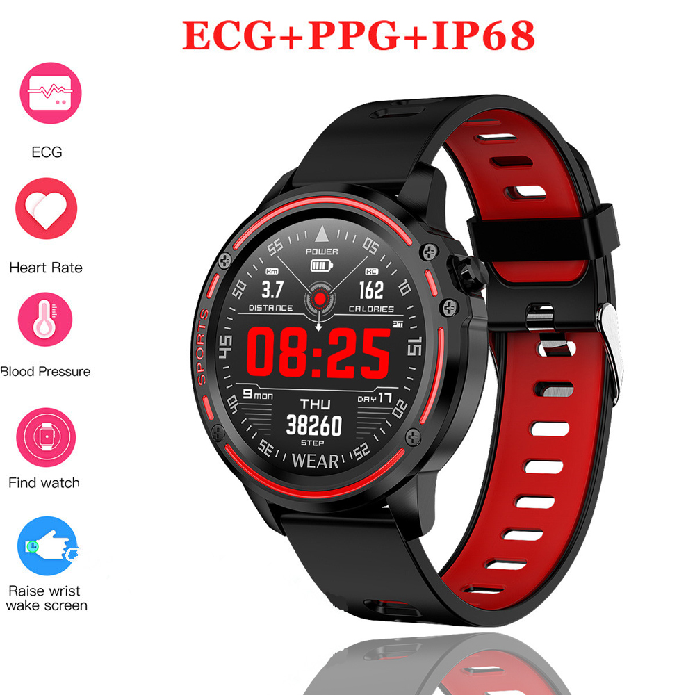 Newest L8 Smart Watch Men ECG + PPG IP68 Waterproof Blood Pressure Heart Rate Fitness Tracker Sports Smartwatch VS L5 L7