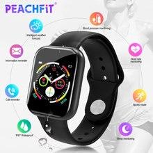PEACHFIT Y2 Smart Uhr Herz Rate Monitor Blutdruck Fitness Armband Uhr Frauen Männer Smartwatch PK B57 P80 IWO 8 9 10 11