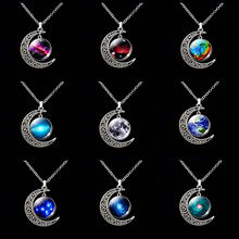 Crescent Moon Necklace Universe Galaxy Planet Jewelry Space Nebula Moon Solar System Star Fashion Pendant Accessories fashion solar system moon earth mars planet necklace antique silver crescent moon pendant chain necklace outer space jewelry
