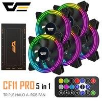 DarkFlash CF11 PRO RGB ventilador con cubierta 120mm 3P 5v Aura Sync PC carcasa CPU ventilador de refrigeración silencioso remoto ajustar velocidad computadora ventilador con cubierta|Ventiladores y refrigeración| |  -