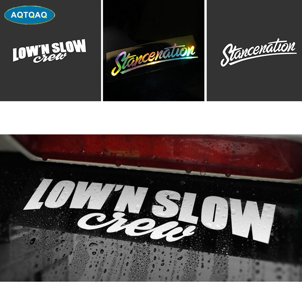 1Pcs Stancenation LOW'N SLOW Waterproof Auto Car Front Window Windshield Decal Reflective Sticker For Universal Cars