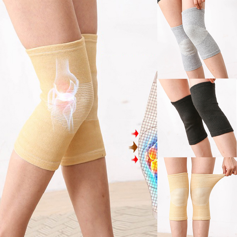 Winter Warm Knee Pads Support Sleeve Elasticated Bandage Knee Pad Charcoal Knitted Elbow Solid Color Knee Protector Hot Sale