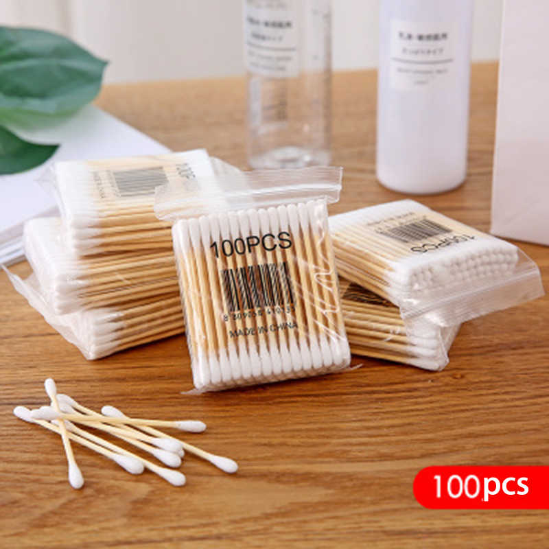 100pcs/bag Double Head Cotton Swab Women Makeup Cotton Buds For Medical Wood Sticks Nose Ears Cleaning Health Care Tools