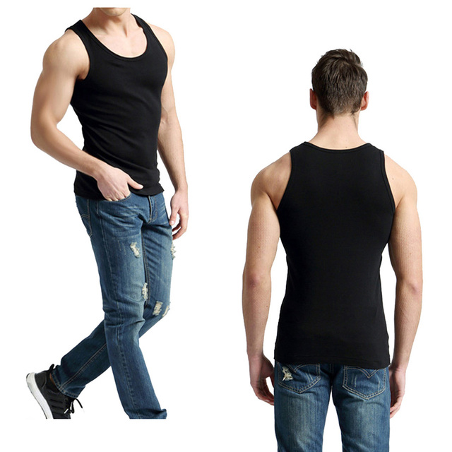 2 PCS/Lot Tank Tops Men 100% Cotton Solid Vest Male Breathable Sleeveless Tops Slim Casual Undershirt Mens Gift 3