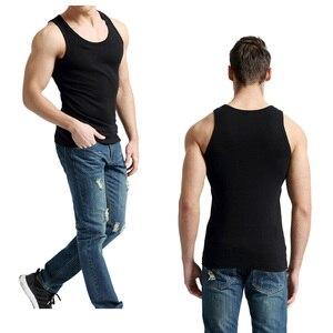 Image 3 - 2 יח\חבילה גופיות גברים 100% כותנה מוצק אפוד זכר לנשימה שרוולים חולצות Slim גופייה מקרית Mens מתנה