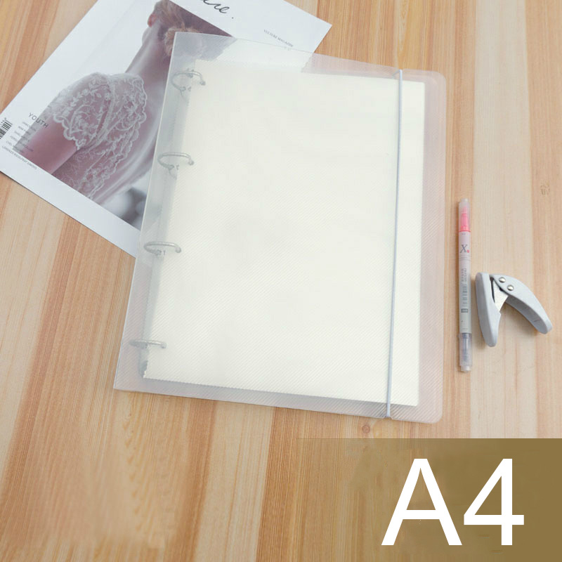 A4 4 Holes Transparent File Folder Notebook Loose Leaf Binder Rings DIY File Plastic Clip School Stationery Ring Office Supplies