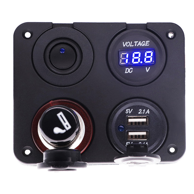 4 In 1 Car Boat Switch Panel With Blue LED Light 4.2A Dual USB Port 12V Power Socket Voltmeter For RV Vehicles Truck Yacht