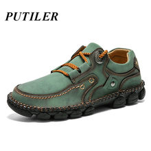 Genuine Leather Casual Shoes Men Sneakers Handmade Loafers Men Moccasins Breathable Driving Boat Shoes Green Footwear Size 38-48(China)