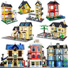 עיר ארכיטקטורת וילה קוטג אבני בניין סט חברים חוף צריף מודולרי בית בית כפר דגם צעצועים לילדים