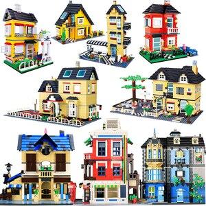 City Architecture Villa Cottage Building Blocks set Friends Beach Hut Modular Home House Village Model Toys for children