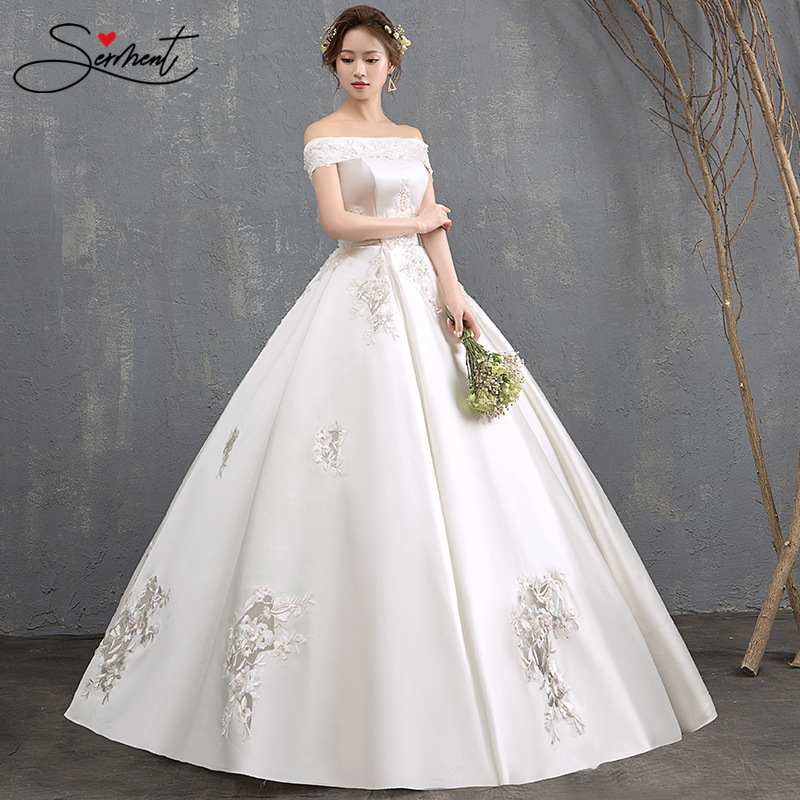 SERMENT Luxury Wedding Dress Off The Shoulder Design Back Lace Up Strapless Ankle-Lenght Gown Soft Satin Applique Free Custom