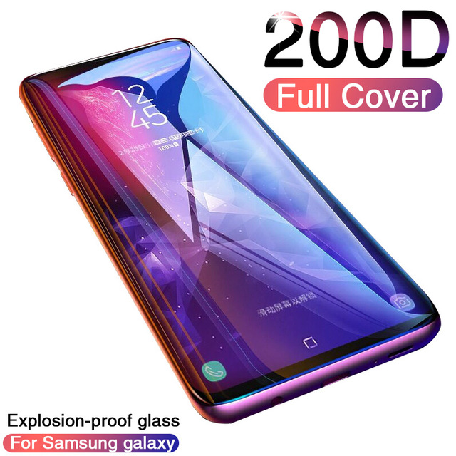200D Tam Kavisli Temperli Cam Samsung Galaxy S9 S8 Artı Not 9 8 Ekran Koruyucu Samsung S7 S6 kenar S9 koruyucu film