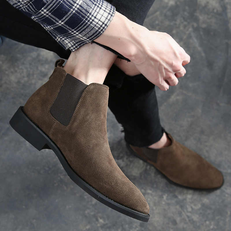 Dropshipping Chelsea Suede Leather Luxury Men Ankle Boots Original Male Short Casual Shoes British Style Autumn Winter Boot