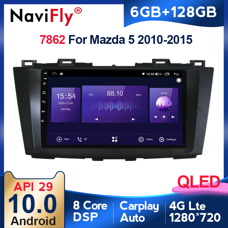 6G + 128G QLED 4G LTE WIFI RDS Für Mazda 5 3 CW 2010 2011 2012 2013 2014 2015 2 din Auto Radio Multimedia Video Player Navigation
