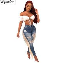 Wjustforu Fashion Casual Tassel Jeans For Women Casual Rippe