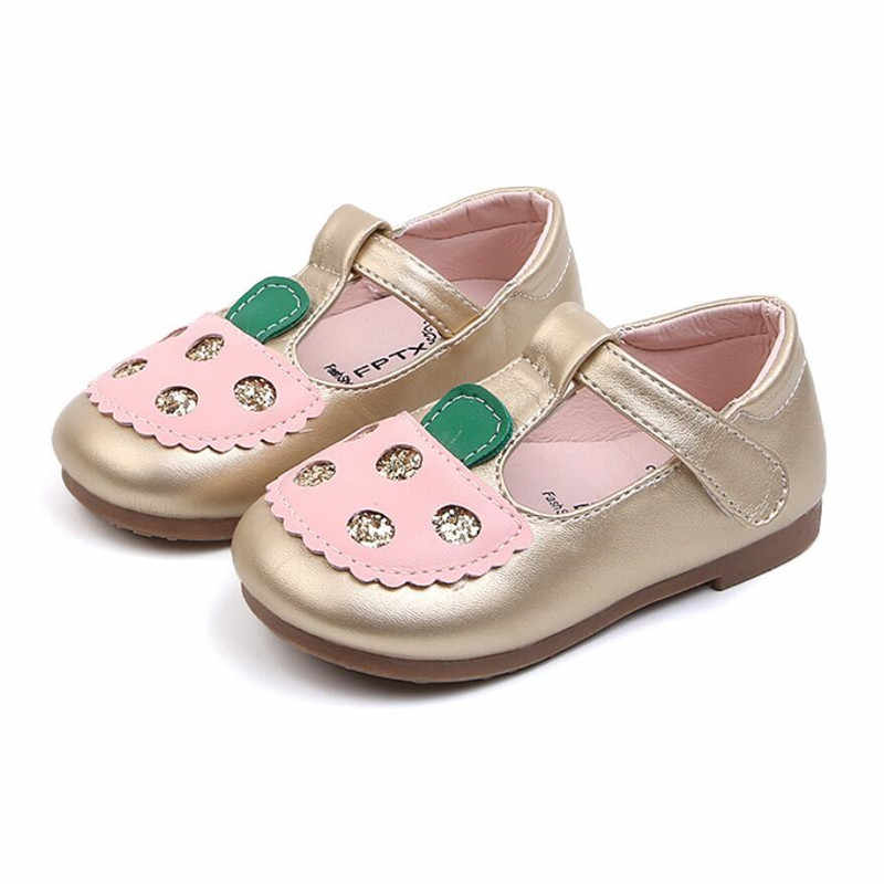 2020 Trẻ Em Mới Của Giày Da Cho Bé T-Dây Đeo Dễ Thương Cho Trẻ Em Nhảy Múa Bãi Đầm Dự Tiệc Màu Đen Giày với Lấp Lánh Apple