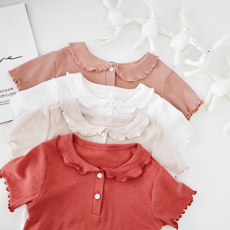 3670 Hot Girl's Bottoming T Shirts Summer Short Sleeve Peter Pan Collar Children's T-shirt White Tops Kids Brief Blouses
