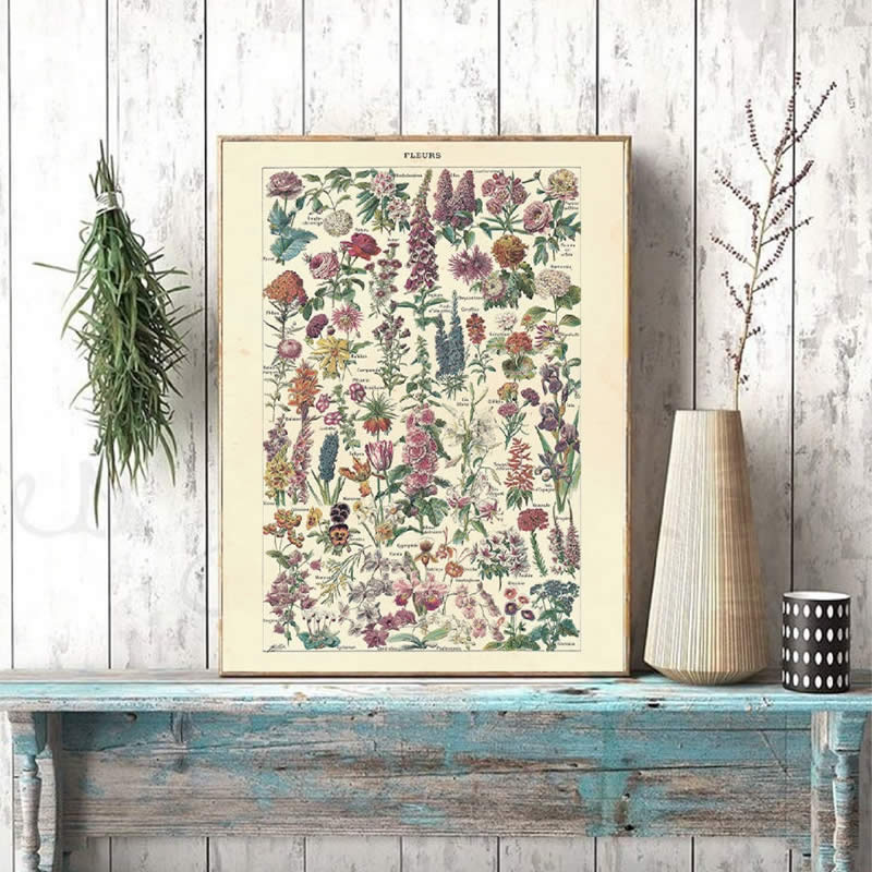 Vintage Flower Print Antique Floral Posters And Prints Wall Picture Botanical Farmhouse Wall Art Canvas Painting Home Art Decor image