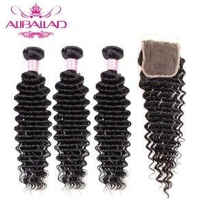 Image 1 - Aliballad حزم موجة عميقة مع إغلاق اللون الطبيعي شعر برازيلي 3/4 حزم مع تمديدات شعر ريمي إغلاق 4x4