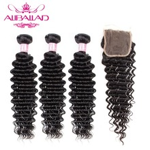 Aliballad עמוק גל חבילות עם סגירת צבע טבעי Brazillian שיער 3/4 חבילות עם 4x4 סגירת רמי שיער הרחבות