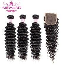 Aliballad Deep Wave Bundles With Closure Natural Color Brazillian Hair 3/4 Bundles With 4x4 Closure Remy Hair Extensions