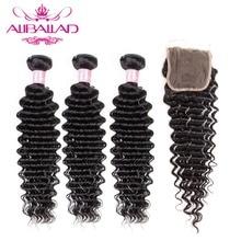 Aliballad derin dalga demetleri ile kapatma doğal renk brezilya saçı 3/4 demetleri ile 4x4 kapatma Remy saç ekleme