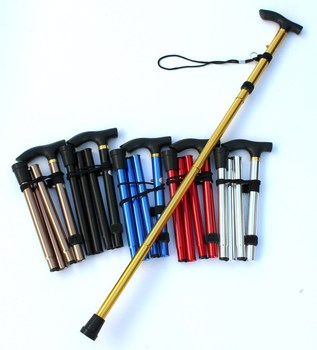 Walking Stick Hiking Trekking Poles Trail Ultralight 4-section Adjustable Canes Aluminum Alloy Folding Cane Walking Sticks outdoor anti fall cane folding blind stick 4 sections folding blind guide cane aluminum walking stick w climbing goods