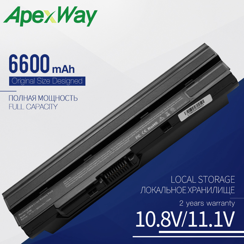 Apexway 9 Cells 6600 mAh Laptop Battery For MSI BTY-S11 BTY-S12 Wind U100 L1300 L1350 L1350D U100X U100W U135DX U210 U270 U90X(China)
