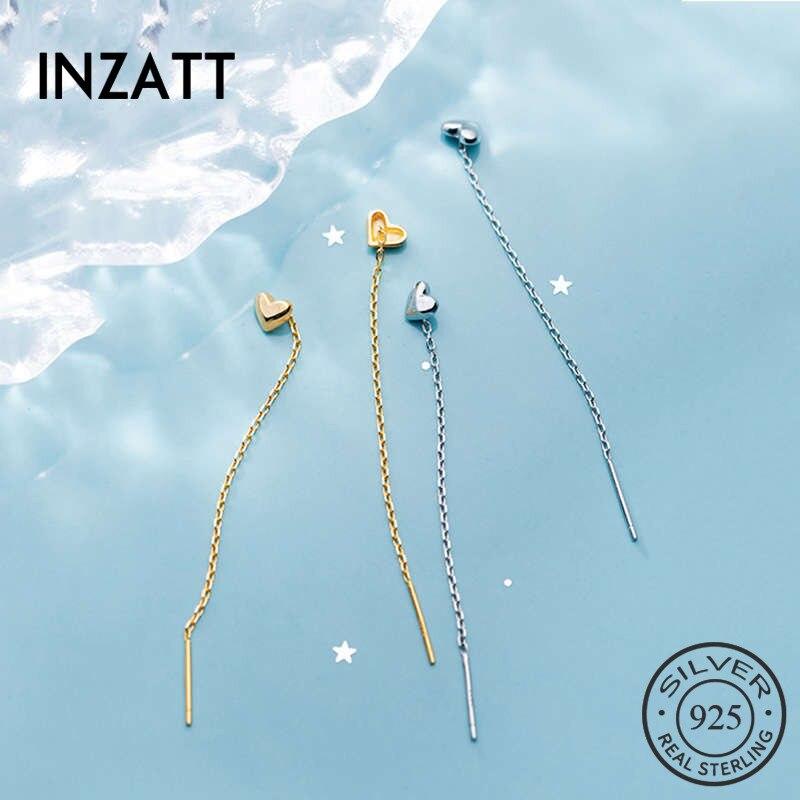 INZATT Real 925 Sterling Silver Chain Tassel Heart Stud Earring For Fashion Women Birthday Part Cute Fine Jewelry Accessories